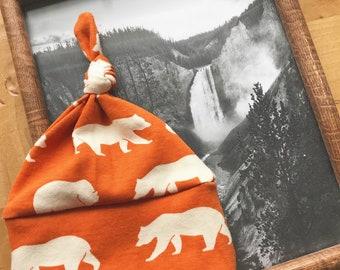 Camp Out Hat, Burnt Orange, Organic Cotton, Bear, Baby Boy, Adventure, Gift, Newborn