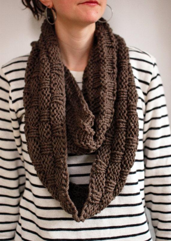Basket Weave Infinity Scarf Knitting Pattern Chunky Cowl Pdf