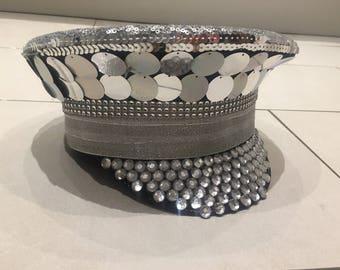 Silver Military Festival Hat embellished sequin bling cap, Burning Man EDC Glastonbury disco headpiece