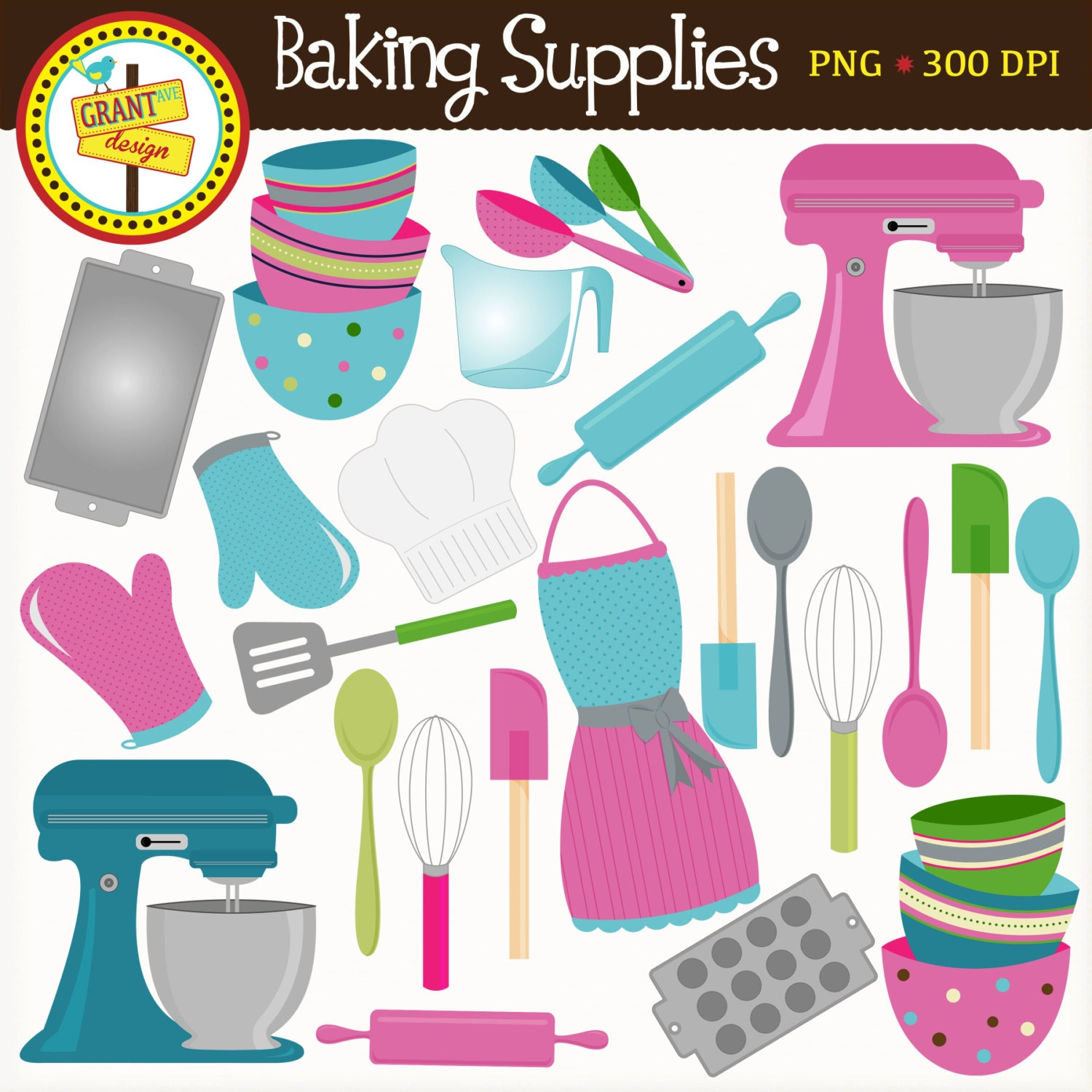 Baking Supplies Clipart Cute Baking Clip Art Pink and Blue
