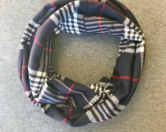 Navy and Red Plaid Flannel Infinity Scarf