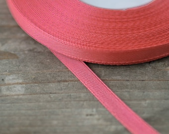 Strawberry Pink Satin Ribbon 6mm Thin Craft Ribbon Wedding Bouquet Ribbon Wreath Ribbon Decorative Pink Ribbon Costume Ribbon DIY Supplies