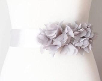 Bridal Flower Sash Ribbon Belt - Boho Rustic Wedding Dress Sashes Belts Bridesmaid Flower Girl - Grey / Gray