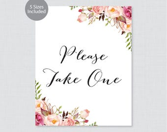"Printable Please Take One Sign - Pink Floral Wedding Sign - Rustic Pink Flower ""Please Take One"" Sign Poster 8x10, 11x14, 16x20 0004"