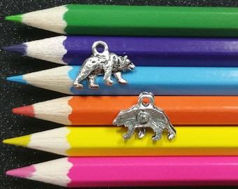 10 PCS - Bear Animal Grizzly Silver Charm Pendant C0415