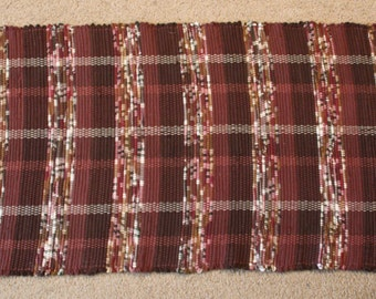 Handwoven Rag Rug - Dark and Chocolate Brown with spots of burgundy/rust/camel - 50 inches....(#165)