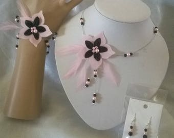 Set 3 piece necklace, bracelet, black silk flower earrings / pink feather Bridal, wedding, bridemaids