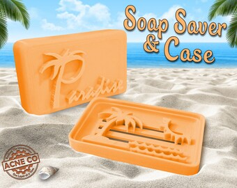 Paradise Themed Soap Saver & Soap Travel Case / Creamsicle Orange / Party Favor / Artisan Soap Tin for Natural Soap Bar / Gift Set for Her