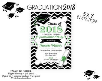 Elegant Graduation Invitation Silver and Gold Gradient