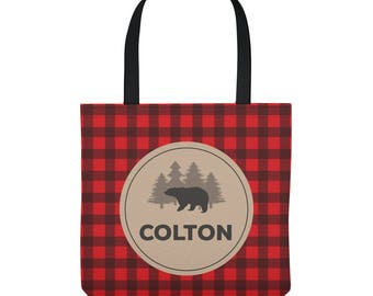 Personalized Library Tote Bag - Bear on Buffalo Plaid -  Custom Library Bag - Three Sizes to Choose From