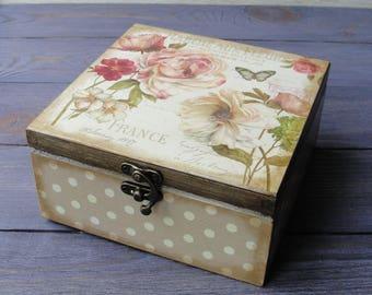Wooden tea box Tea storage box Tea bag box Tea bag storage Tea chest Tea organizer Wood tea box Tea caddy Tea gift box Tea lover gift
