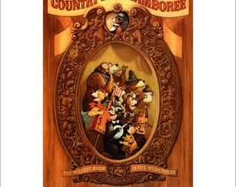 """Vintage Disney Parks Poster, Item 110M, 11"""" x 14"""" Matte, Mat, Disneyland, 1978, Country Bear Jamboree"""