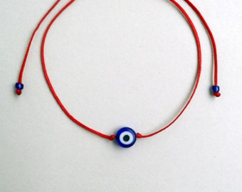 Red string evil eye bracelet Blue evil eye Simple bracelet Minimalist Lucky bracelet Unisex Adjustable Stacking spiritual Buddhist Kabbalah