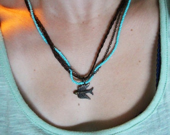 Beaded Sparrow Necklace