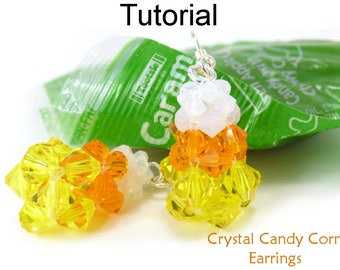 Beading Pattern - Halloween Crystal Earrings - CRAW - Cubic Right Angle Weave - Simple Bead Patterns - Crystal Candy Corn Earrings #26868