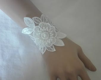 Bracelet mitten bridal wedding beaded white lace evening ceremony parties bridesmaid cuff
