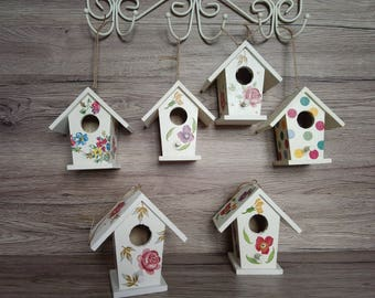 REDUCED Hanging decoration.Decorative.Wooden Birdhouse.Shabby Chic birdhouse.Ornamental Birdhouse.Decor.Decoupaged Birdhouse.Handpainted