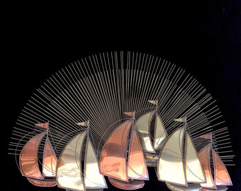 Vintage Mid Century Modern 1970s Metal Wall Sculpture with Sailboats and Sunrise Brass & Copper in the manner of C. Jere 20th Century Design