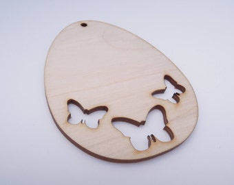 Wooden Easter Decoration Wooden Egg With Butterflies for Crafts - Laser Cut