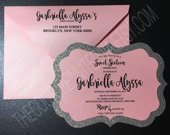 Pink & Silver Glitter Sweet Sixteen Invitation