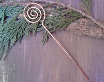 Stick copper hair spiral, metal hair stick, gift for her, anniversary gift, hair jewelry, hair pin