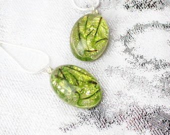 moss necklace floral jewelry gift mom necklace green jewelry gift wife birthday gift oval necklace terrarium necklace summer jewelry Рю177