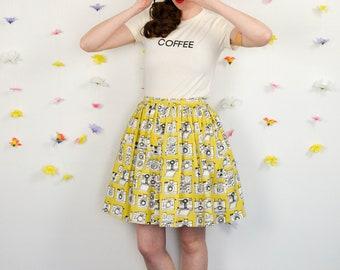 NEW Camera Print Full Skirt in Yellow / Shutterbug Skirt