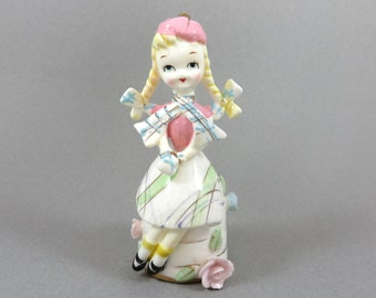 Vintage Scottish Girl Figurine, Lassie, Hand Painted Pastel Seated Girl, Tam and Scarf, Bows and Braids