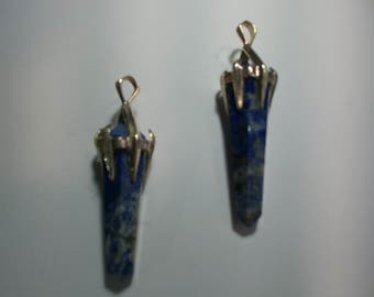 Vintage Lapis Lazuli Stone Point Pendant with Sterling Silver Plated Bail (1060457)