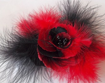Feather Silk Red Black Poppy Brooch and/or Hair Pin