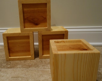 """Custom Furniture / Bed Risers, 2-5.5"""", Handmade, Solid Core, Pine Clad, Set of 4, Made to Order"""