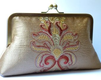 Golden Brown Flower Bloom Clutch:  Kisslock Frame Embroidered Silk Purse