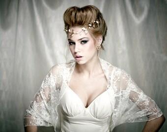 Lace bridal bolero (4 options- shawl , shrug , twist and scarf ) romantic clothing, White lace bolero ,  Ivory lace wedding shawl (DL300)