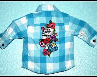 Boys Rockabilly Day of the Dead Plaid Shirt....size New Born