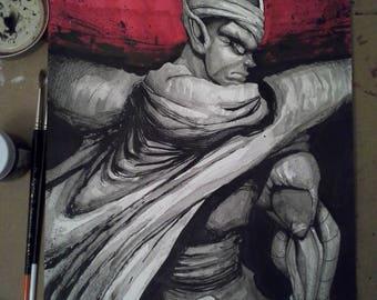 Piccolo Original 9x12 Ink Wash Drawing