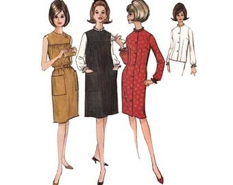 Uncut Misses Dress or Jumper and Blouse McCalls 7388 Vintage 1960s Smocked /Slim Sheath Jumper/Button Up Dress Bust 31-32