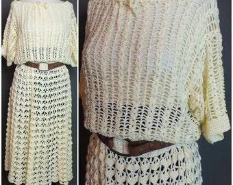 Vintage 70's Festival Cream Handmade Crochet Hippie Boho Dress Wedding Dress L-XL