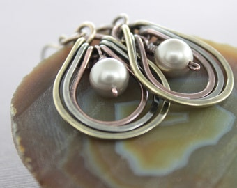 Multicolored metal earrings with copper, German silver and brass hoops with platinum cream Swarovski pearls - Mix metal earrings - ER099