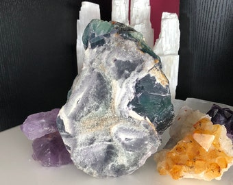 Large Standing Rainbow Fluorite Healing Home Decor Crystals