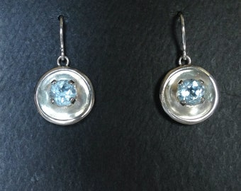 Blue Topaz and Sterling Silver Earrings by Nancy Capers