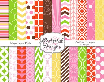 Girl Birthday Digital Paper Pack Commercial Use