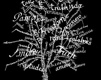 Passion Tree - black and white print