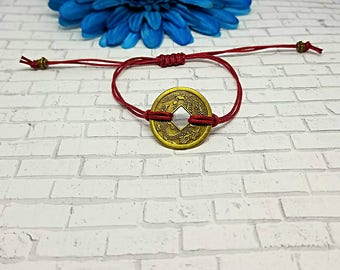 Coin Bracelet, Feng Shui Coin Bracelet, Minimalist, Lucky Coin, Meditation, Macrame, String Bracelet, Adjustable, Stocking Stuffer, Bronze