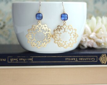 Cobalt Blue Glass, Moroccan, Boho Filigree, Ornate Chandelier Earrings. Maid of Honor. Bridesmaids Gifts. Blue and Gold Wedding. For Wife.