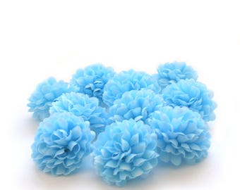Sky Blue Pom Pom Carnations - 25 count - Artificial Flowers, Silk Flowers