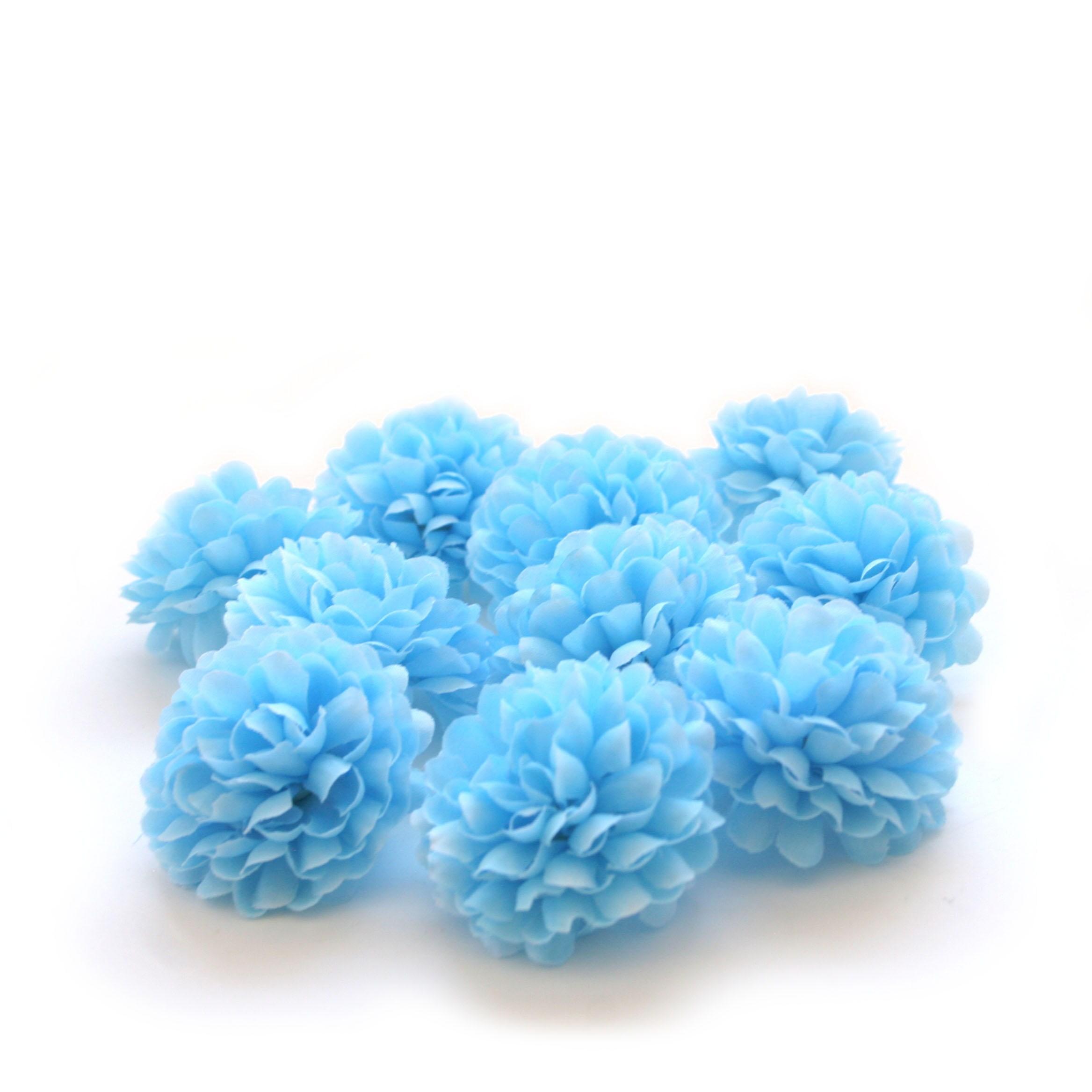 Sky Blue Pom Pom Carnations 25 Count Artificial Flowers Silk