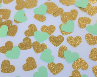 Mint and Gold Confetti Hearts, Mint Engagement Party Decorations, Bridal Shower Decorations, Mint Baby Shower Decorations, Mint to be decor