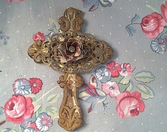 Cast Iron Cross Made From Vintage Metal Findings