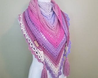 Wood Nymph - Crochet Triangle Scarf Cowl Shawl