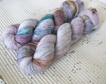Selkie - Hand Dyed Tonal Yarn - Single Ply - Superwash Merino - Mauve Teal Brown
